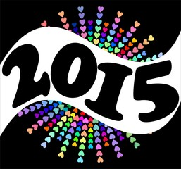 2015 New year background with rainbow hearts