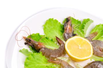 delicious fresh shrimps with lemon