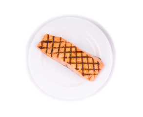 Roasted salmon on a plate