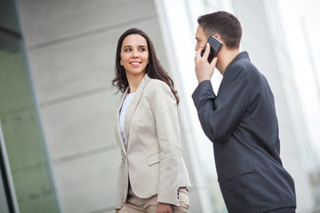 Young business people communicating