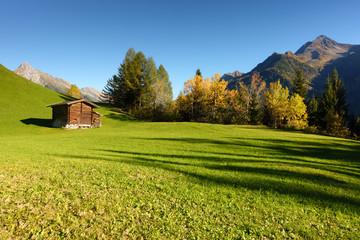 Berghütte am herbstlichen Waldrand