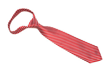 a scarlet striped necktie