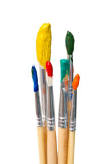 dirty brushes isolated on  white background