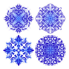 Vector set of blue pattern