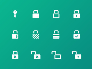 Locks icons on green background.