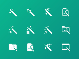 Magician icons on green background.