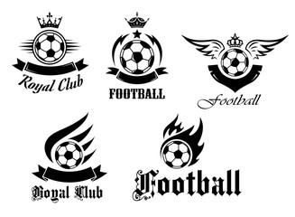 Soccer and football emblems set