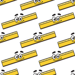 Cartoon ruler seamless pattern