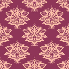Purple and pink paisley style seamless pattern