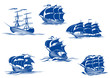 Blue tall ships or sailing ships - 71790727