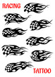 Set of motor racing vector tattoos - 71790797