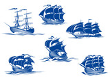 Blue tall ships or sailing ships