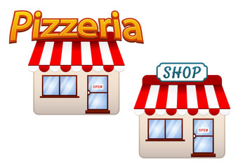Cartoon shop and pizzeria icons