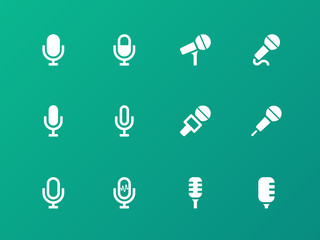 Microphone icons on green background.