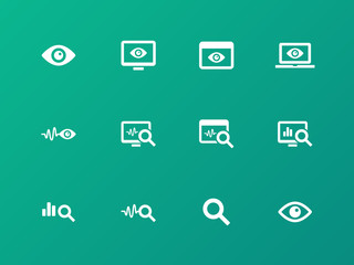 Monitoring icons on green background.