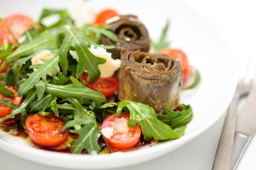 Arugula and artichoke salad.