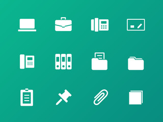 Office icons on green background.