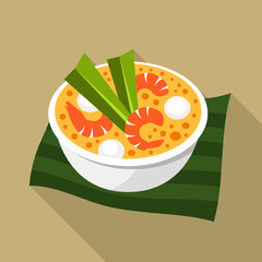 Tom yum, thai soup vector icon
