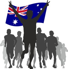 Winner with the Australia flag at the finish