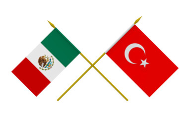 Flags, Turkey and Mexico