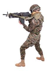US MARINES with machine gun