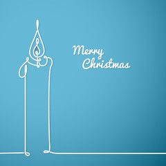Vector christmas card - continuous line drawing