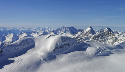 Panoramic view to the peaks in the Jungfrau region Switzerland