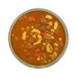 Hamburger soup in a stoneware bowl