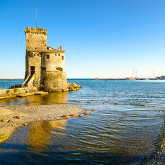 Rapallo, the medieval castle on the sea. Genoa, Ligury, Italy