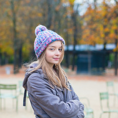 Young Parisian girl in park