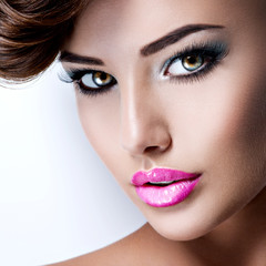 face of young pretty woman with  beautiful eyes