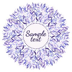 Purple watercolor ornament on the white background