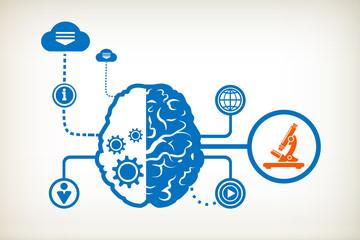 Microscope and abstract human brain