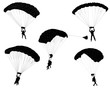 skydivers silhouettes collection - vector - 71793118