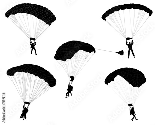 Fototapeta skydivers silhouettes collection - vector