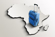 canvas print picture - Travel to Africa. Blue suitcase on 3d map