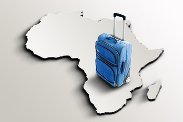 Travel to Africa. Blue suitcase on 3d map