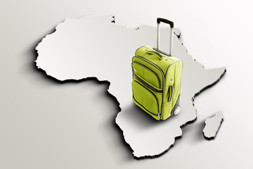 Travel to Africa. Green suitcase on 3d map