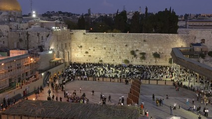 Time-lapse of the wailing wall by sunset