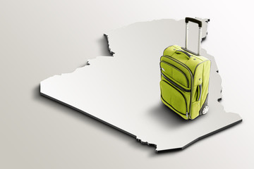 Travel to Algeria. Green suitcase on 3d map of the country