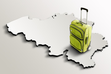 Travel to Belgium. Green suitcase on 3d map of the country