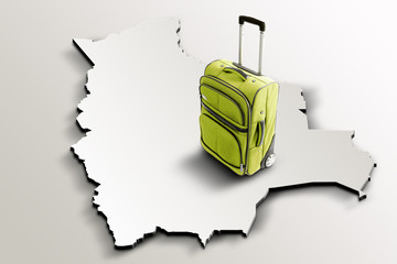 Travel to Bolivia. Green suitcase on 3d map of the country