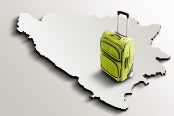 Travel to Bosnia and Herzegovina. Green suitcase on 3d map