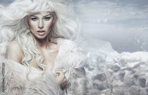 canvas print picture Portrait of the blond lady with ice island in the background