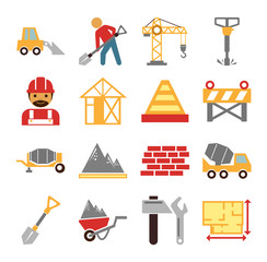 Stock vector construction color simple flat icon set