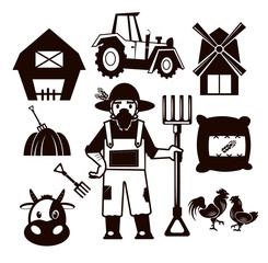 Stock vector farm pictogram illustration black icon set