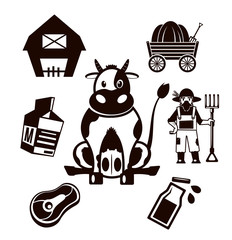 Stock vector farm cow pictogram black icon set