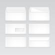 Set of White Blank Envelopes Isolated - 71793942