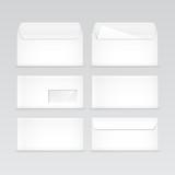 Set of White Blank Envelopes Isolated