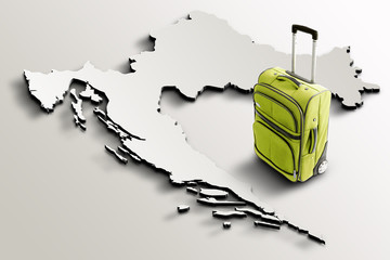 Travel to Croatia. Green suitcase on 3d map of the country